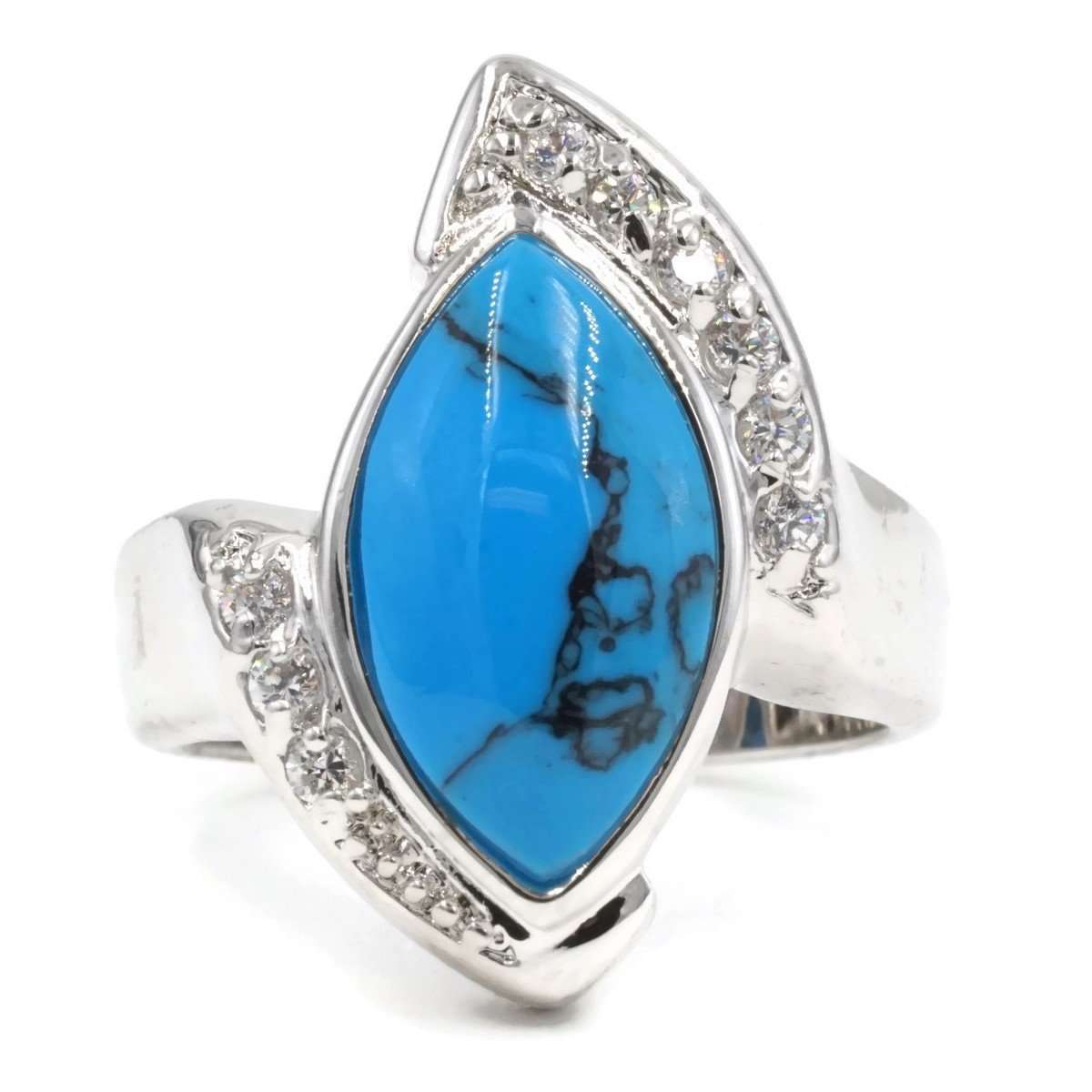 Asymmetrical Simulated Turquoise Clear Stones Ring