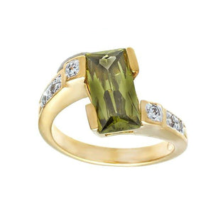 Special Rectangular Olivine Two Tone Offset Ring