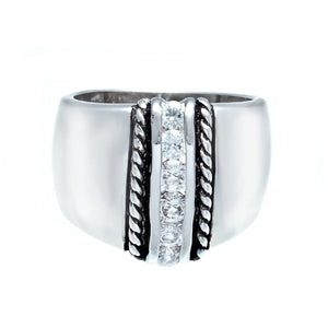 Highly Polished Silvertone Wide Band Fashion Ring