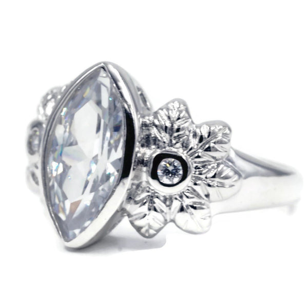 Large Bezel Set Marquise Single Stone Ring