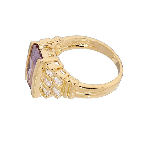 Contemporary Fancy Cut Amethyst Step Design Ring
