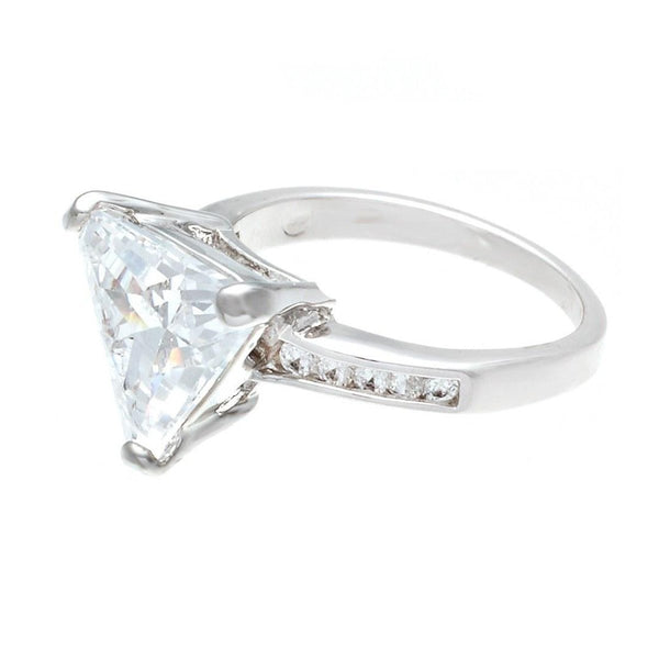 Big Trillion Cut Silvertone Solitaire Fashion Ring