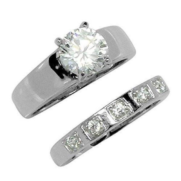 Beautiful Two Piece Round CZ Wedding Set Style