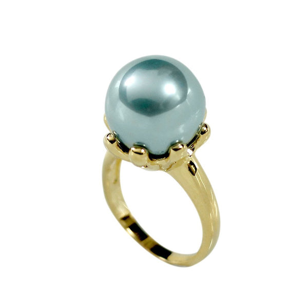 Large Teal Prong Set Simulated Pearl Ring
