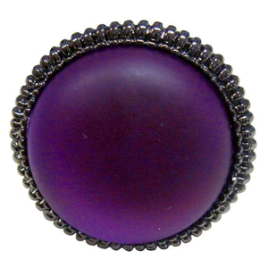 Psychedelic Large Round Purple Resin Stone Ring