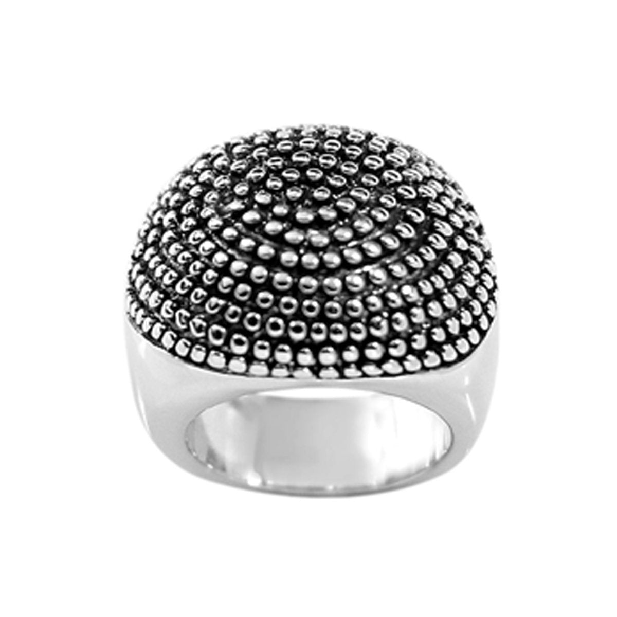 Wide Oblong Shape Beaded Half Dome Silvertone