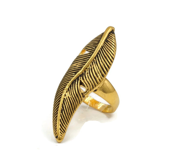 Long Antique Style Feather Gold Tone Fashion Ring