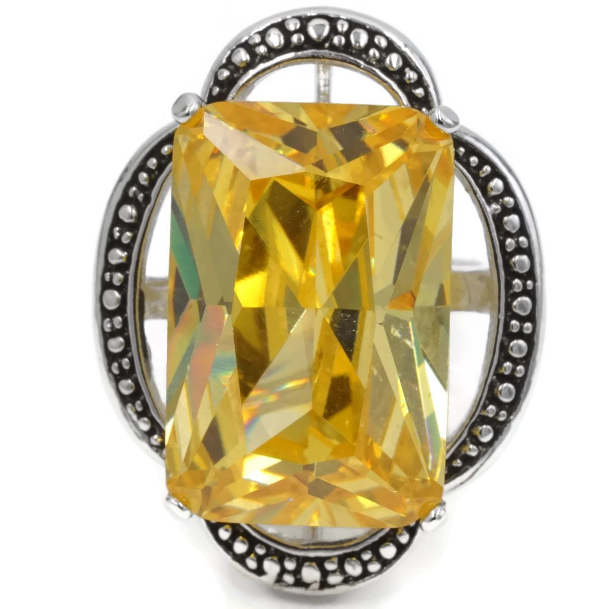 Oversized Rectangular Yellow CZ Silvertone Fashion