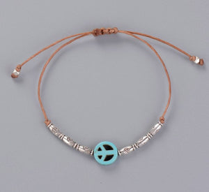 Simple Bracelet Handmade Boho Peace Sign Charm