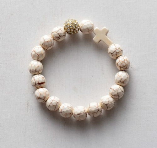 Stretchy Bracelet 10MM Natural Stones Pave Ball