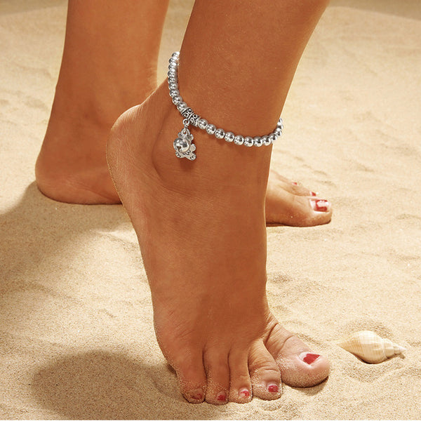 Double Chain Bell And Bear Anklet
