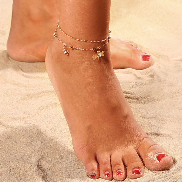 Double Chain Dragonfly Anklets