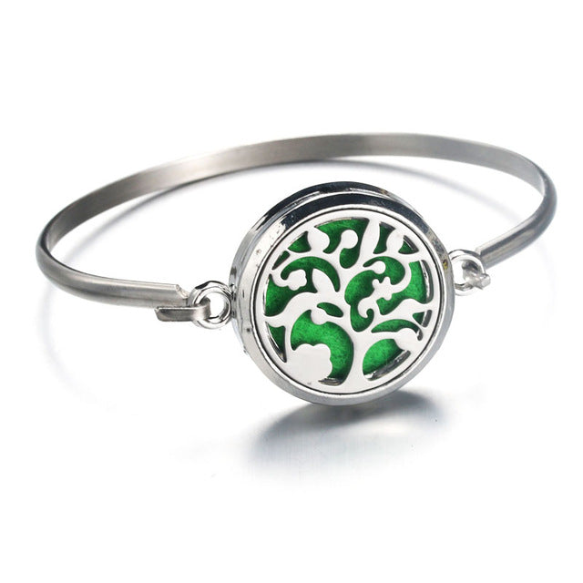 Tree of Life Stainless Steel Aromatherapy Bracelet