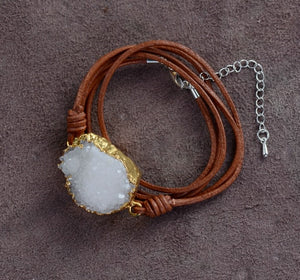 Unique Leather with Gilded Druzy Charm Wrap