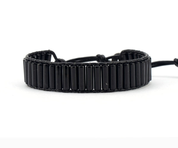 Unique Tube Shape Black Onyx Single Leather Wrap