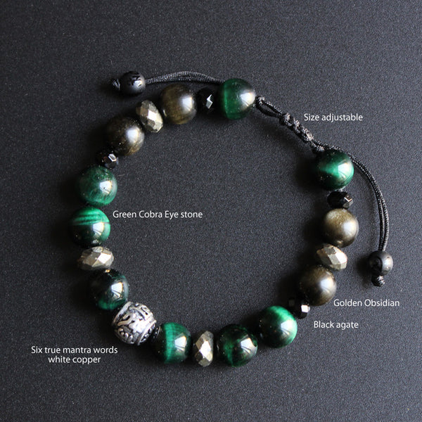 10mm Beads Green Cobra Eye Stone &