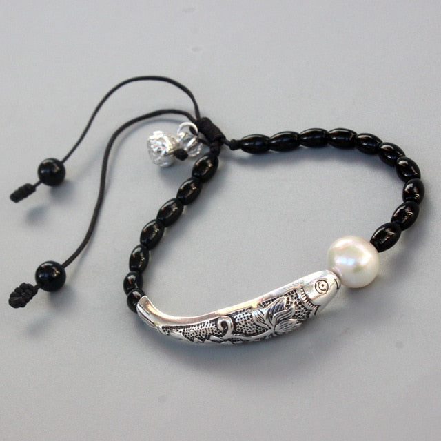 Black Stone Natural Pearl With Silver