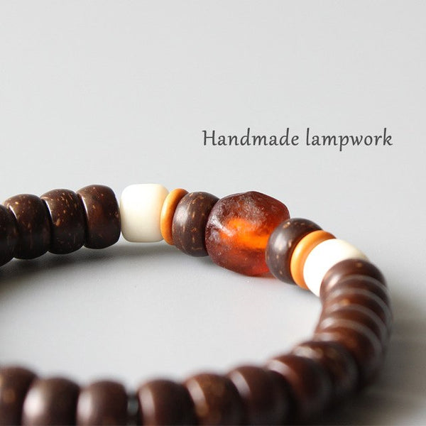 Lampwork & Natural Coconut Shell Beaded