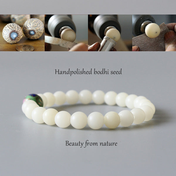 White Bodhi Seed Beads Chinese Cloisonne