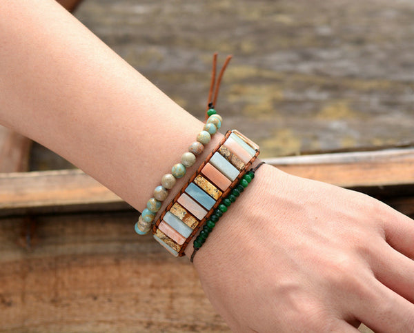 Woman Boho Bracelets Tube Shape Natural Stones