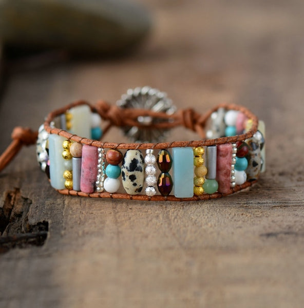 Women Boho Bracelet Tube Shape Natural Stone