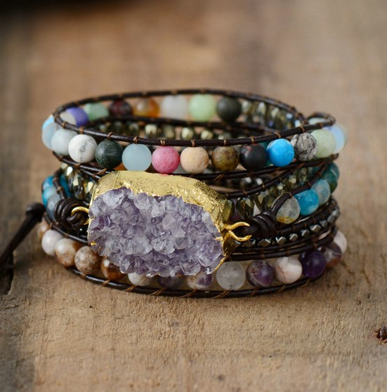 Women Leather Bracelets High End Natural Stones