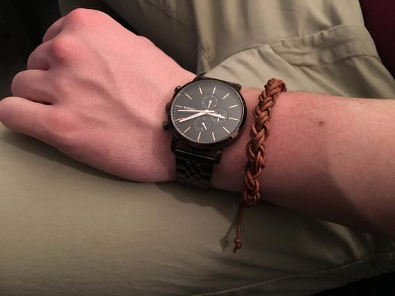 Round brown braided leather bracelet