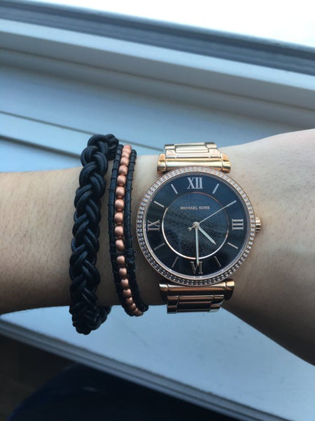 Rose gold/ dark blue thin leather beaded bracelet