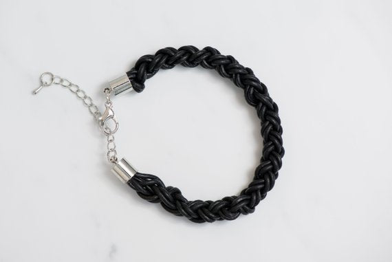Round black braided leather bracelet
