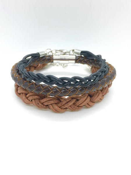 Dark brown men's leather braided bolo bracelet