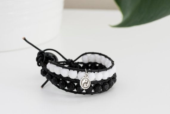 Yin and Yang double wrap leather bracelet (black