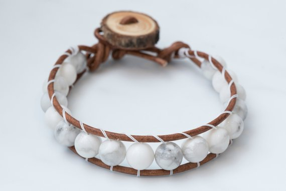 Marble White single wrap leather beaded bracelet