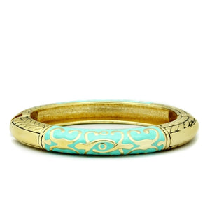 LO2128 Flash Gold White Metal Bangle with Epoxy in