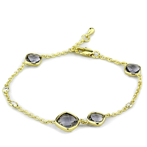 LO3234 Gold Brass Bracelet with Synthetic in
