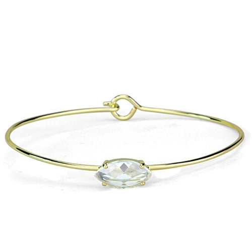 LO3260 Gold Brass Bangle with AAA Grade CZ in