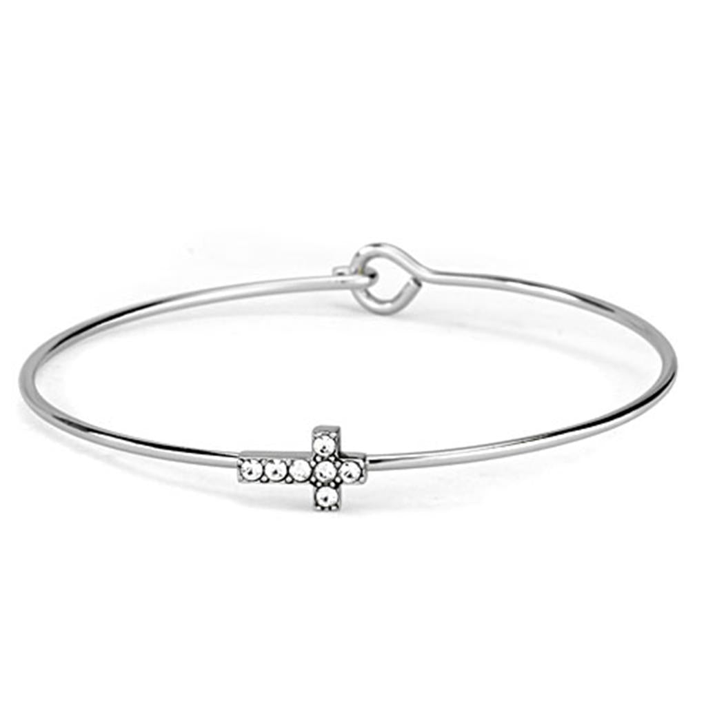 LO3266 Rhodium Brass Bangle with Top Grade Crystal