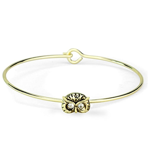 LO3275 Gold Brass Bangle with Top Grade Crystal in