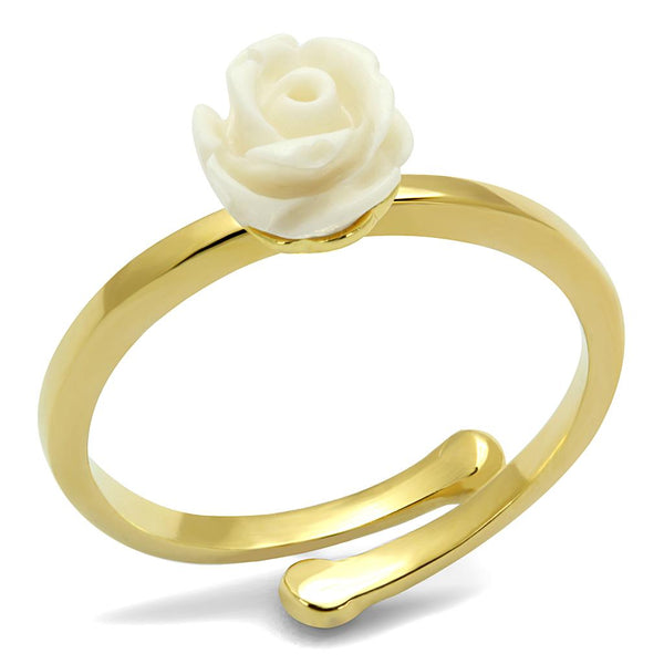 LO4057 Flash Gold Brass Ring with Synthetic in