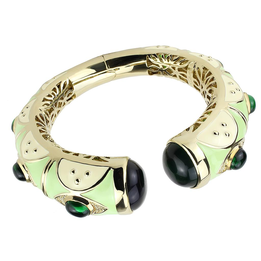 LO4267 Gold Brass Bangle with Synthetic in Emerald