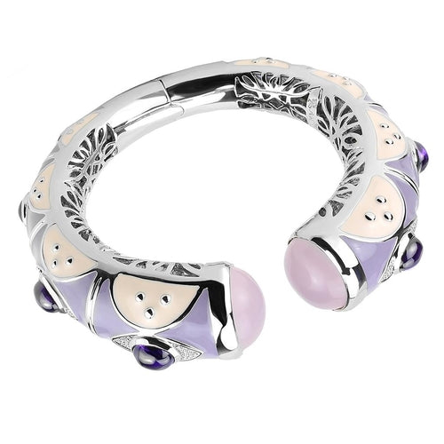 LO4268 Rhodium Brass Bangle with Synthetic in Rose