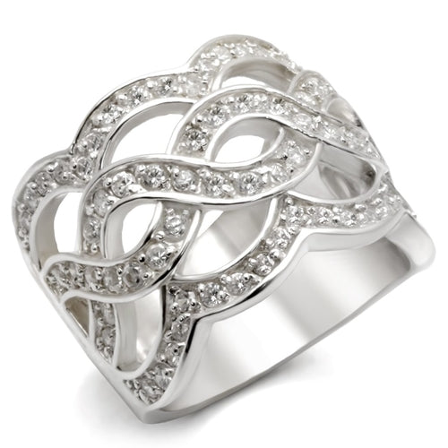 LOA553 Rhodium 925 Sterling Silver Ring with AAA