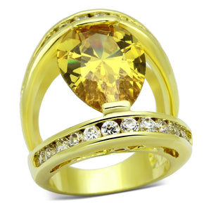 LOA849 Gold Brass Ring with AAA Grade CZ in Topaz