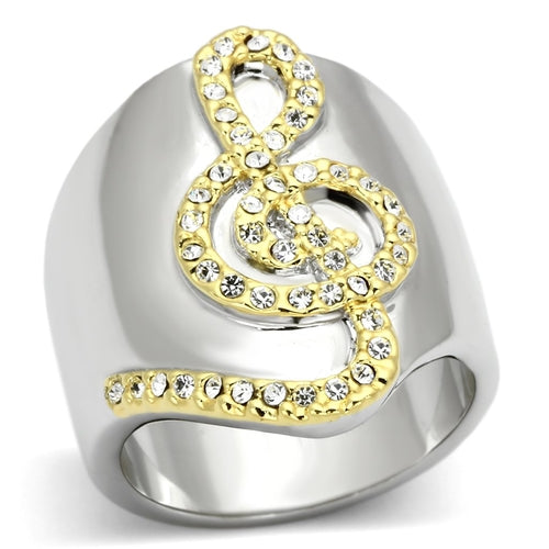 LOA857 Reverse Two-Tone Brass Ring with Top Grade