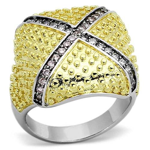 LOA878 Rhodium+Gold+ Ruthenium Brass Ring with AAA