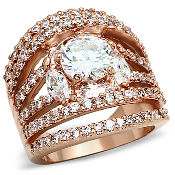 LOA879 Rose Gold Brass Ring with AAA Grade CZ in