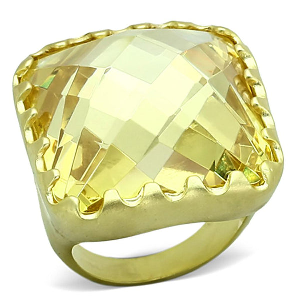LOA888 Matte Gold Brass Ring with AAA Grade CZ in