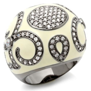 LOA939 Ruthenium Brass Ring with AAA Grade CZ in