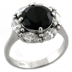 LOAS1044 Rhodium 925 Sterling Silver Ring with AAA