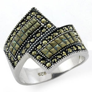 LOAS1100 Antique Tone 925 Sterling Silver Ring