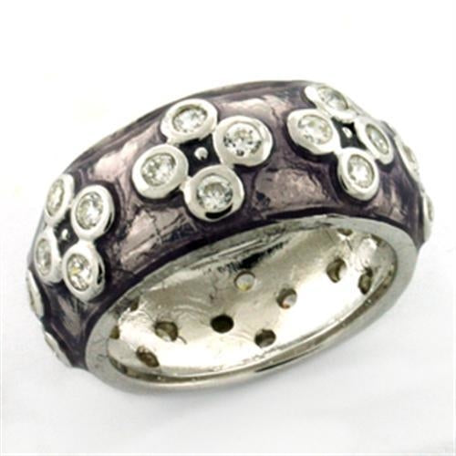 LOAS730 Rhodium 925 Sterling Silver Ring with